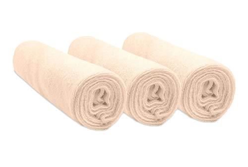 Easy Dort Pack de 3 Housses pour Matelas à Langer en Coton Écru 50 x 70/80 cm
