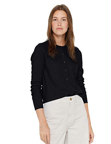 State Cashmere Women's 100% Pure Cashmere Button Front Long Sleeve Crew Neck Cardigan Sweater (Black, Large)