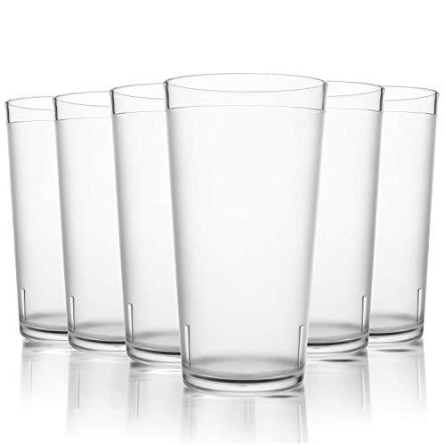 PEMOTech Vasos de Transparente, 6 Unidades, 16 onzas, Juego de Vasos de Cristal de Plástico, Aptos para Lavavajillas