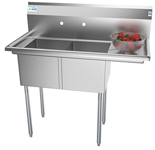 KoolMore 2 Compartment Stainless Steel NSF Commercial Kitchen Prep & Utility Sink with Drainboard - Bowl Size 14' x 16' x 11', Silver