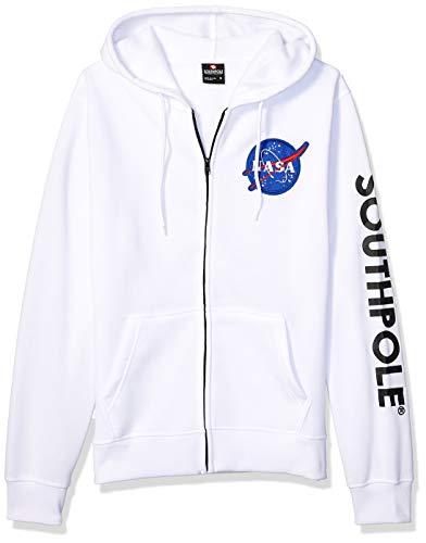 Southpole Men's NASA Collection Fleece Sweatshirt (Hoody, Crewneck), White Patch, Large