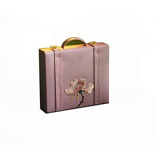 QULONG Caja de Almacenamiento de Viaje portátil Espejo de vanidad Pendientes Pendientes Caja de Almacenamiento de Anillo Laca Pintada Día de la Madre, Madre