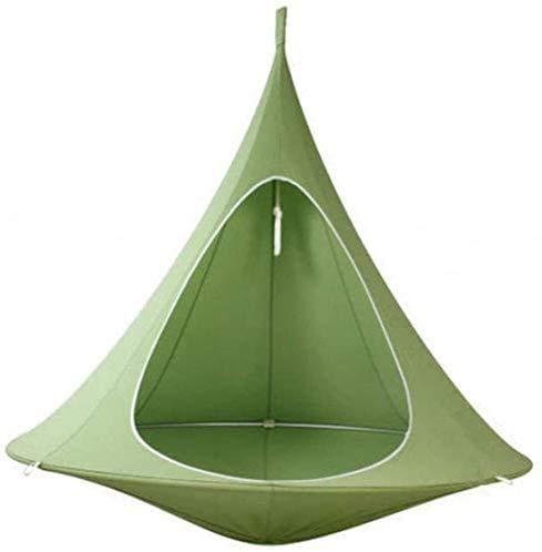 zaizai Teepee Tree Pod Kids Baby Swing Hamaca Silla de Camping para niños Sillas Colgantes para Interiores y Exteriores Asiento Doble Tienda Individual Hamaca de jardín-Green