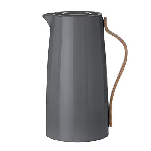 Stelton Isolierkanne Emma für Kaffee aus Kunststoff mit Buchengriff in grau, 1.2l