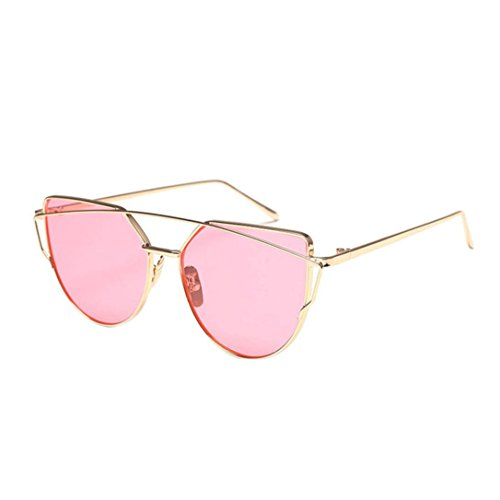 Sonnenbrille FORH Vintage Sonnenbrille Fliegerbrille Klassische Twin-Beams Metallrahmen Cat Eye Spiegel Super Cool Sommer StrandBrille Outdoor Reisen Glasses (D)