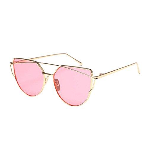 Sonnenbrille FORH Vintage Sonnenbrille Fliegerbrille Klassische Twin-Beams Metallrahmen Cat Eye Spiegel Super Cool Sommer StrandBrille Outdoor Reisen Glasses (D)