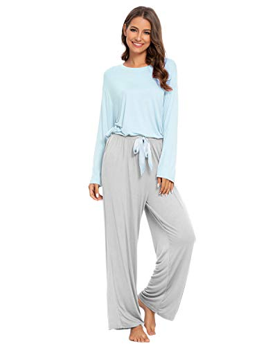 GOSO Damen Schlafanzug Pyjama Set-Schlafanzug Damen Pyjama Pjs Langarm Loose Pants Lady Jogging Style Nachtwäsche Soft Lounge Sets, L, 01 Blau