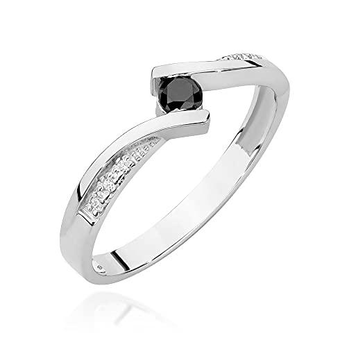 Anillo para mujer 585 de oro de 14 quilates, diamantes negros naturales, 50 (15.9), Diamond,