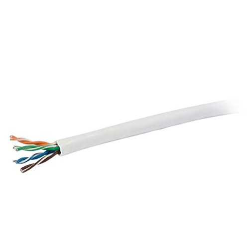 C2G 56002 Cat5e Bulk Cable - Unshielded Ethernet Network Cable with Solid Conductors, Plenum CMP-Rated, TAA Compliant, White (500 Feet, 152.4 Meters) (Made in The USA)