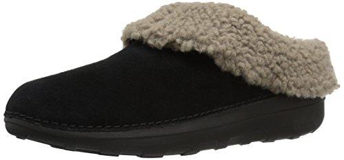 FitFlop Women's Loaff SNUG Slippers, Black, 8 M US