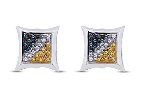 Pendientes de plata de ley chapada en oro de 18 quilates con diamante natural azul, amarillo y blanco mejorado (0,14 quilates, claridad I2-I3), Diamond,