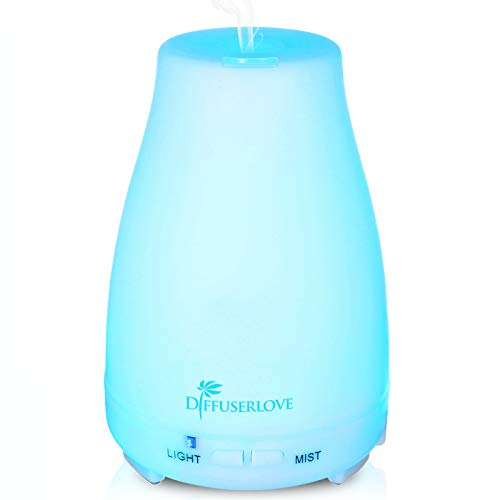 Diffuserlove Essential Oil Diffusers 200ML Ultrasonic Mist Humidifiers BPA-Free Aromatherapy Diffuser with 7 Color LED Lights and Waterless Auto Shut-Off for Bedroom Office Kitchen
