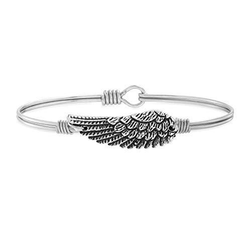 Luca + Danni | Angel Wing Bangle Bracelet For Women - Silver Tone Size Regular Made in USA
