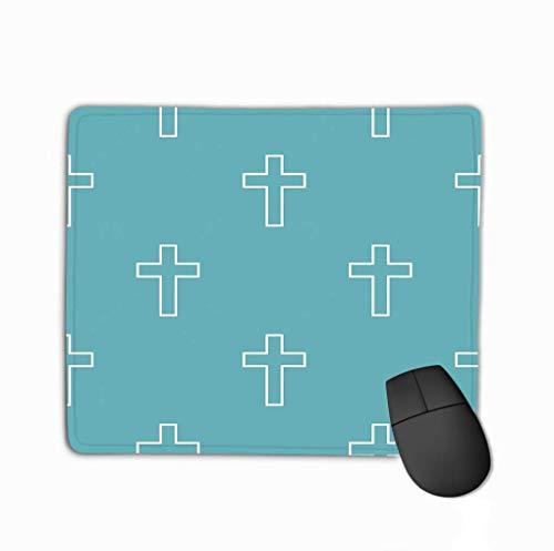 Mouse Pad Catholic Cross Pattern Blue Catholic Cross Pattern Blue Simple Pattern Geometric Repeat Rectangle Rubber Mousepad 11.81 X 9.84 Inch