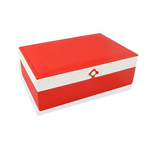 ZRJ Caja para Joyas Caja de joyería joyería de Cuero joyería Organizador joyería Medio Almacenamiento Tenedor Anillos Mujeres niñas Cajas (Color : Red)