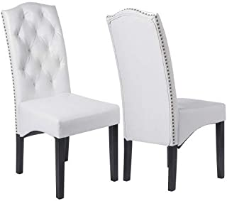 Merax PU Dining Room Chair PU Chair Dining Chair with Solid Wood Legs,Set of 2,White