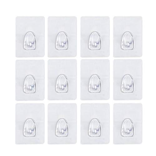 Crochet Mural, Transparents, Sans Trace, Crochet Adhésif pour mur / bureau / cuisine, 3,15x2,36 ', 25lb (max), amovible / réutilisable / étanche / étanche à l'huile-12 Pack avec boîte écologique