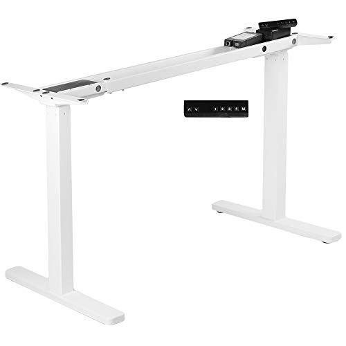 VIVO Electric Dual Motor Standing Desk Frame for 46 to 87 inch Table Tops, Frame Only, Ergonomic Standing Height Adjustable Base with Push Button Controller, White, DESK-V122EW