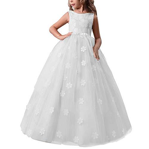 TTYAOVO Chicas Muestran Princesa Vestido de Flores para niños Baile hinchado Bola Vestidos de Tul Tamaño 6-7 años Blanco