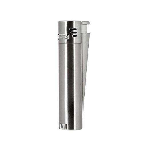 Clipper Metall Laser_Jet Gas-Feuerzeug (Metall Silber/matt) mit SOFORTGRAVUR +VORSCHAU: Gravur inklusive (Gasfeuerzeug nachfüllbar)