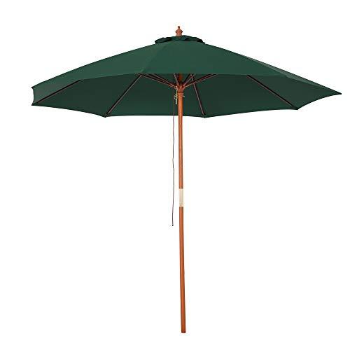Outsunny Sombrilla Parasol con Poste Desmontable de Madera Ángulo Ajustable Ventilación Sistema de Polea para Exterior Jardín Patio Piscina Terraza Ø257x253 cm Verde Oscuro