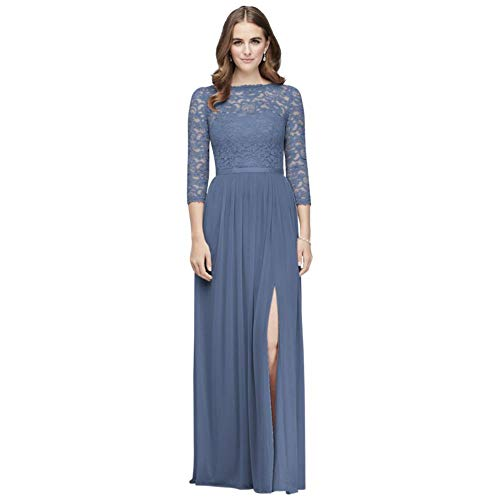 3/4-Sleeve Illusion Lace and Mesh Bridesmaid Dress Style F19908, Steel Blue, 14