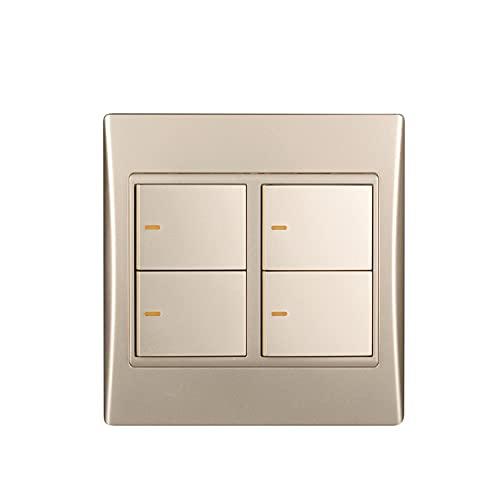 Yoaodpei Interruptor de pared con botón de inicio dorado de 2 vías de 4 canales, interruptor basculante tipo 120, interruptor de marco de acero de seguridad para PC, sala de estar, dormitorio 10A-220V