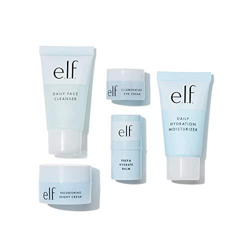 e.l.f. Jet Set Hydration Kit | TSA-freundliche Hautpflege | Reiniger, Balsam, Feuchtigkeitscreme, Augencreme und Nachtcreme