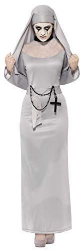 Smiffy'S 43728S Disfraz De Monja Gótica Con Hábito Y Toca, Gris, S - Eu Tamaño 36-38