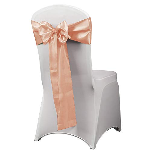 HAORUI 12PCS Satin Chair Sashes Bows for Wedding Chair Decoration (Peach)