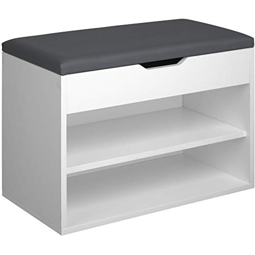 TecTake 800843 Sitzbank mit Schuhregal, BxHxT: 60x43,5x30 cm, Holz Schuhbank Kommode mit Stauraum unter der Sitzfläche, 2 offene Fächer (Weiß)