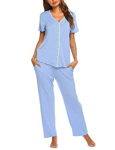 Doneto Damen Schlafanzug Pyjama Kurzarm Set Nachtwäsche Zweiteilige Hausanzug Sleepwear Rundhals