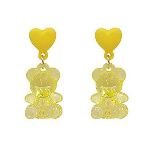 Haowen Pendientes de acrílico del Oso del Amor de la Aguja de Plata Linda S925 del Temperamento de Moda Amarillo