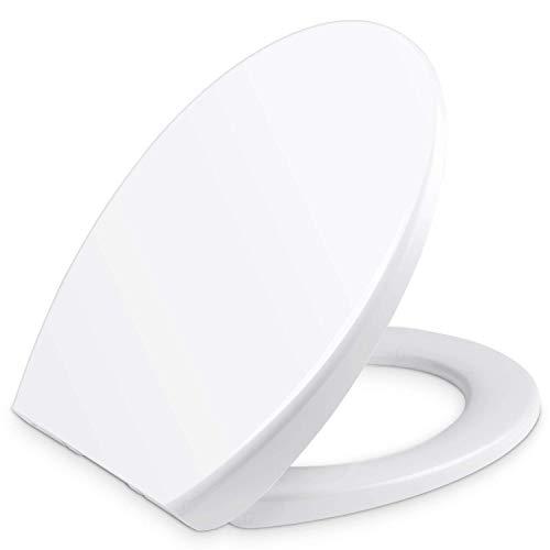 YISSVIC WC Sitz Klodeckel O Form Toilettendeckel Quick-Release-Funktion Deckel Kunststoff Abnehmbar Absenkautomatik Weiß