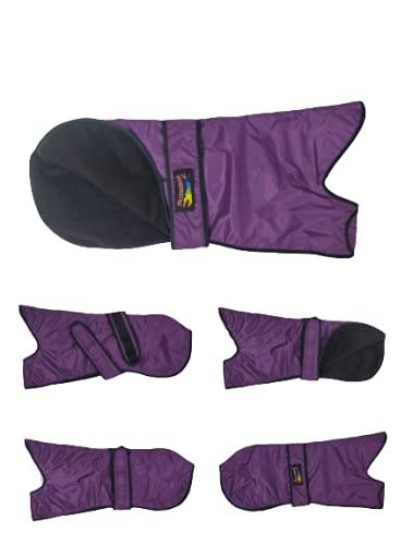 Abrigo de lluvia para perro galgo, impermeable, grueso, acolchado, con forro, color morado