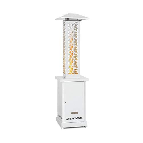 blumfeldt Heat Hunter Pellet - Calefactor de Exterior, Potencia 12,2 kW, Cilindro de Vidrio, Vista Llama a 360°, Temperatura hasta 499 °C, Capacidad 3-9 kg, Alcance del Calor 12,5 m, Ruedas, Blanco