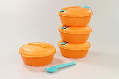 Tupperware Snack&Go to Go 33773 - 4 contenitori da zuppa Soup&Go da 600 ml, con cucchiaio, colore: turchese