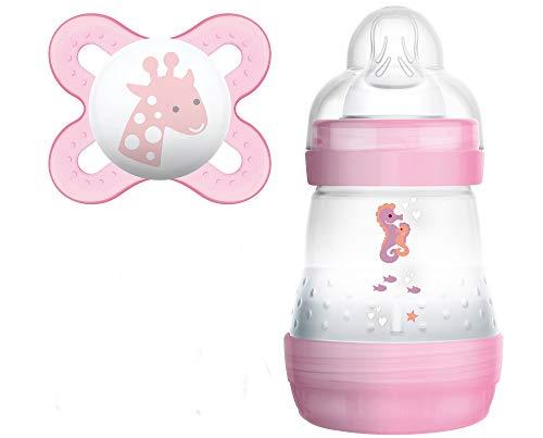 MAM Anti Colic Flasche 160 ml plus MAM Schnuller Start 0-2 Monate für Mädchen