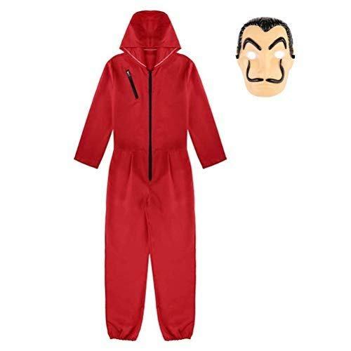 Disfraz de Ladrón, Mono de Color Rojo para Carnaval Navidad Halloween Ropa y Máscara para Adultos y Niños,1 Disfraz + 1 máscara (Niña, 10-12 Años)