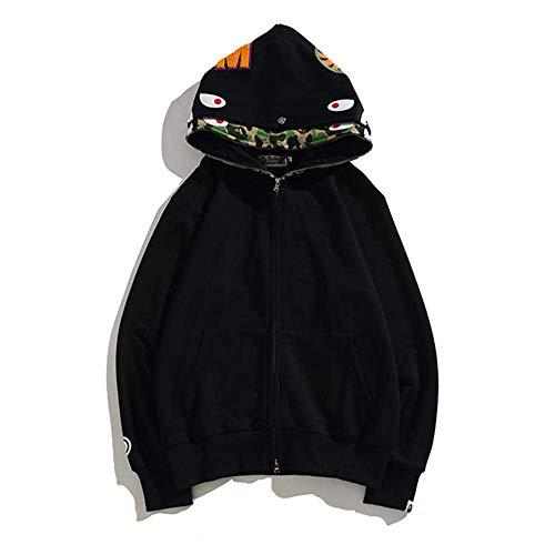 BAPE Fashion Hip Hop Shark Camo Jersey de algodón con capucha y cremallera suelta, se convierte en la persona más fresca de la zona, verde, XXL