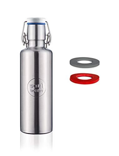 soulbottles Set 0,6l + Zwei Ersatzgummis • Trinkflasche aus Edelstahl • Basic • plastikfrei, nachhaltig, auslaufsicher