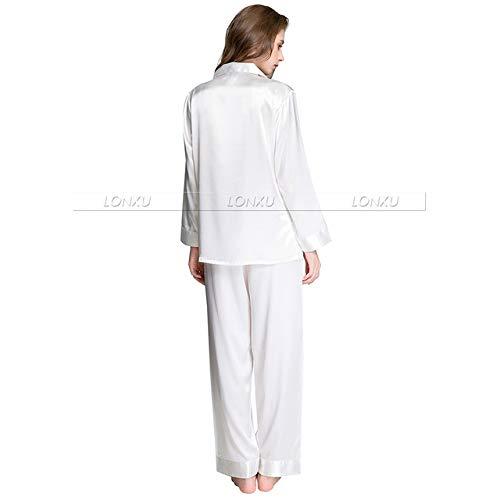 Handaxian Conjunto de Pijama de satén de Seda para Mujer Pijama Conjunto de Pijama de Ropa Casual Blanco L