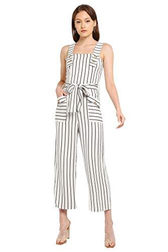 White Label ex Topshop Damen Jumpsuit, mit Knopfleiste, breiter Beinabschluss, elfenbeinfarben Gr. 32, Elfenbein/Navy