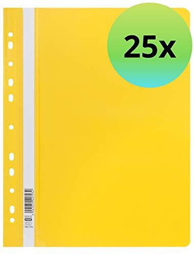 ELBA 100742152 Schnellhefter 25er Pack A4 mit 11-fach Lochung zum Abheften aus Kunststoff für ca. 225 DIN A4-Blätter in gelb