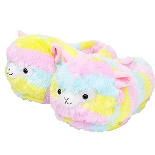 TOSSPER 1 Par Peluche Alpaca Slippers House Non Skid Cozy Soft Shoes Invierno Cálido Dormitorio Dormitorio Slipper