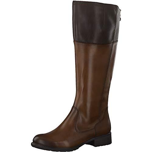 Tamaris Damen Stiefel, Women's Woman Freizeit leger Boots lederstiefel langschaftstiefel reißverschluss weiblich Lady,Brandy/Mocca,39 EU / 5.5 UK