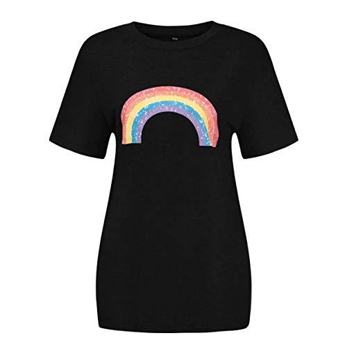 NOBRAND - Camiseta de manga corta para mujer, diseño de arco iris, estilo vintage, para verano, para adolescentes y jóvenes, de moda, de la amistad Gris Negro ( XXL