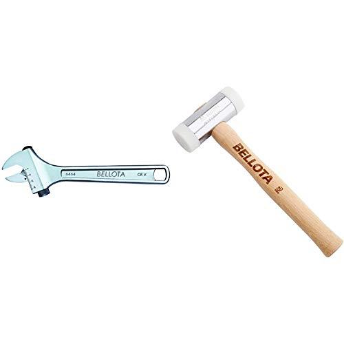 Bellota 6464-8 llave ajustable moleta lateral 8 + 8050-32 Martillo de nylon con mango de madera, cabezas recambiables