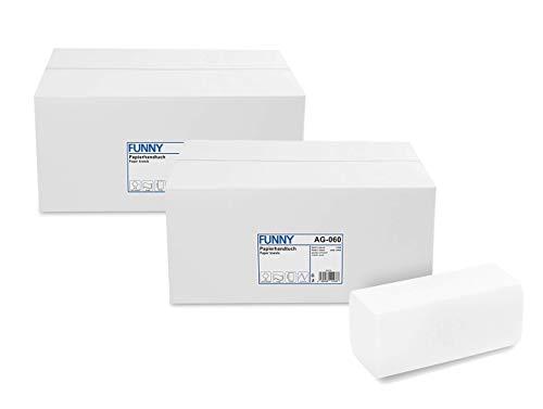 Funny Papierhandtücher Hochweiss, Zellstoff, ZZ/V-Falz, 4000 Stück im Karton, 24,5 x 22 cm 2 lagig (2x 4000)
