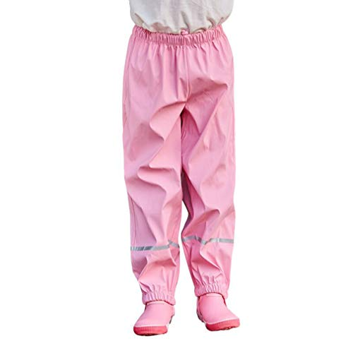 Gaga city Kinder Regenhose Atmungsaktiv Cute Outdoor Sport wasserdichte Hose Mädchen Buddelhose Jungen Wanderhose Pink/134/140